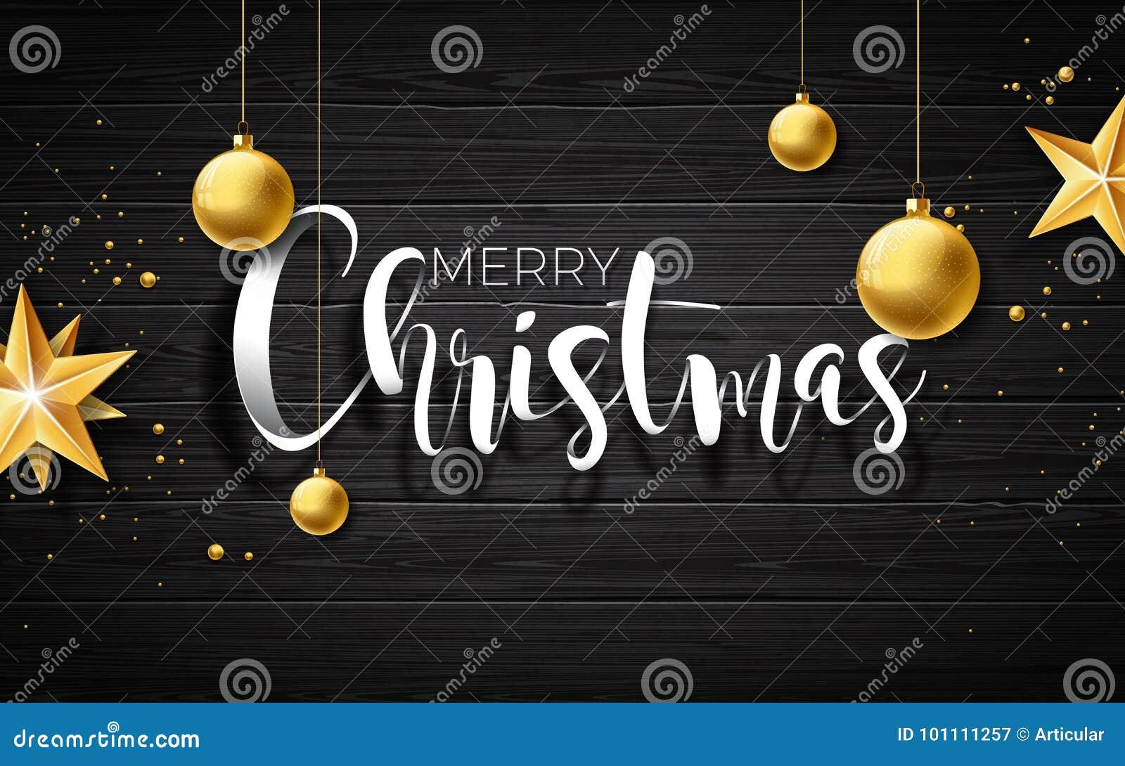 Dirigez l illustration de Joyeux Noël sur le fond en bois de vintage avec des éléments de typographie et de vacances Étoiles et