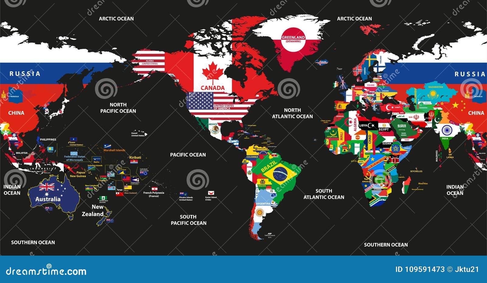 Dirigez l illustration de la carte du monde jointe avec les drapeaux nationaux avec des noms de pays et d océans centrés par l Am
