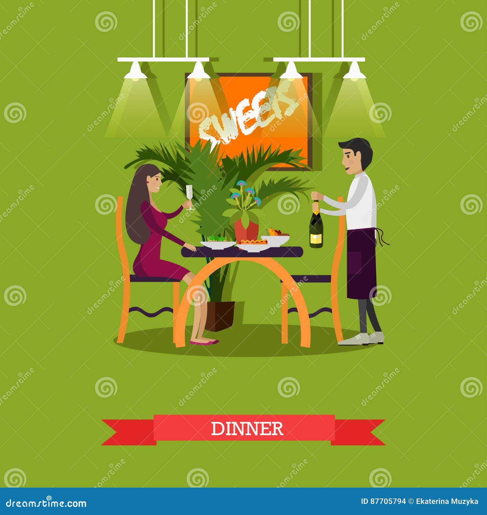 Dirigez l illustration de la femme dînant au restaurant, style plat