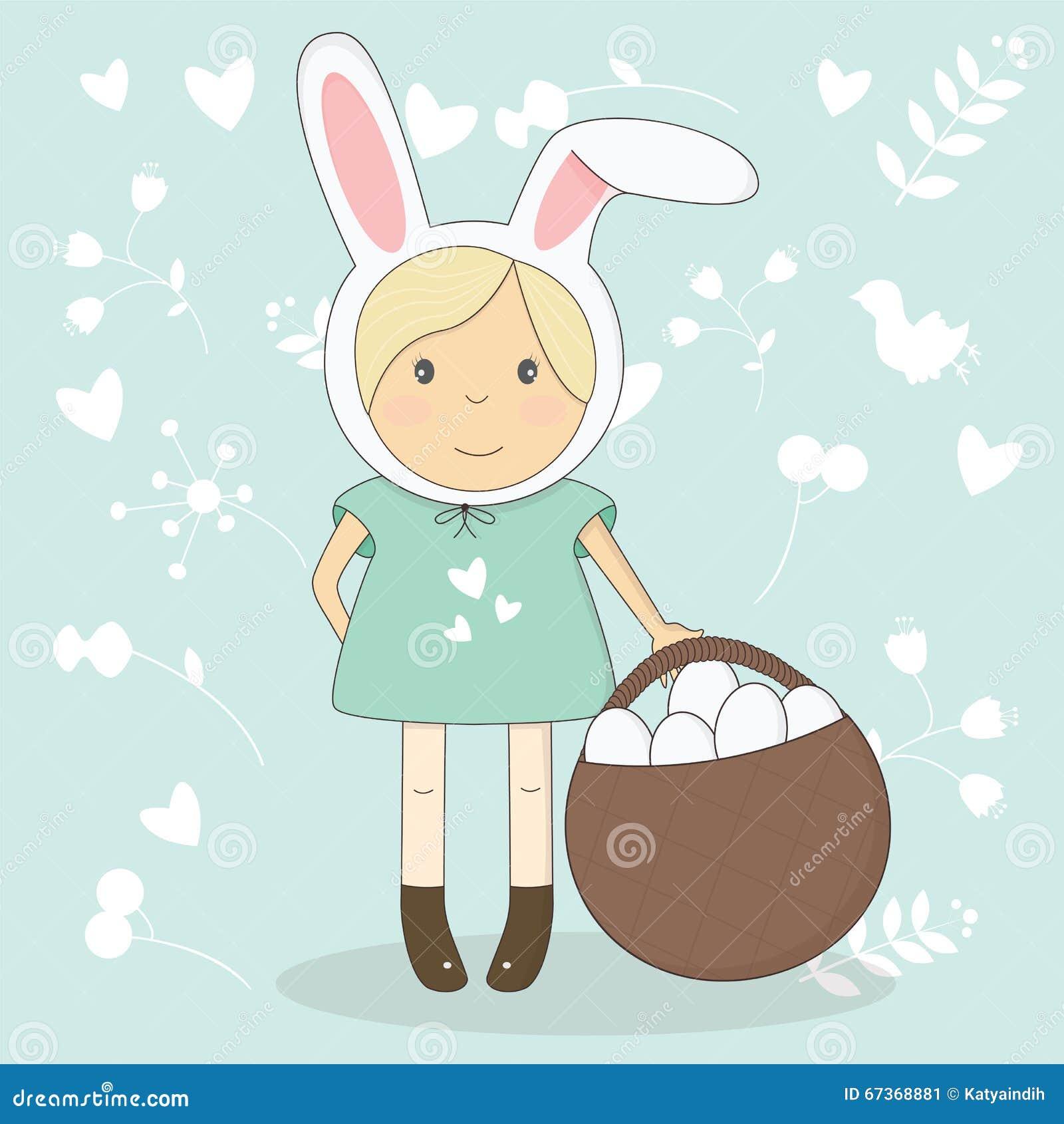 Dirigez l illustration de la fille de Pâques avec des oreilles de lapin