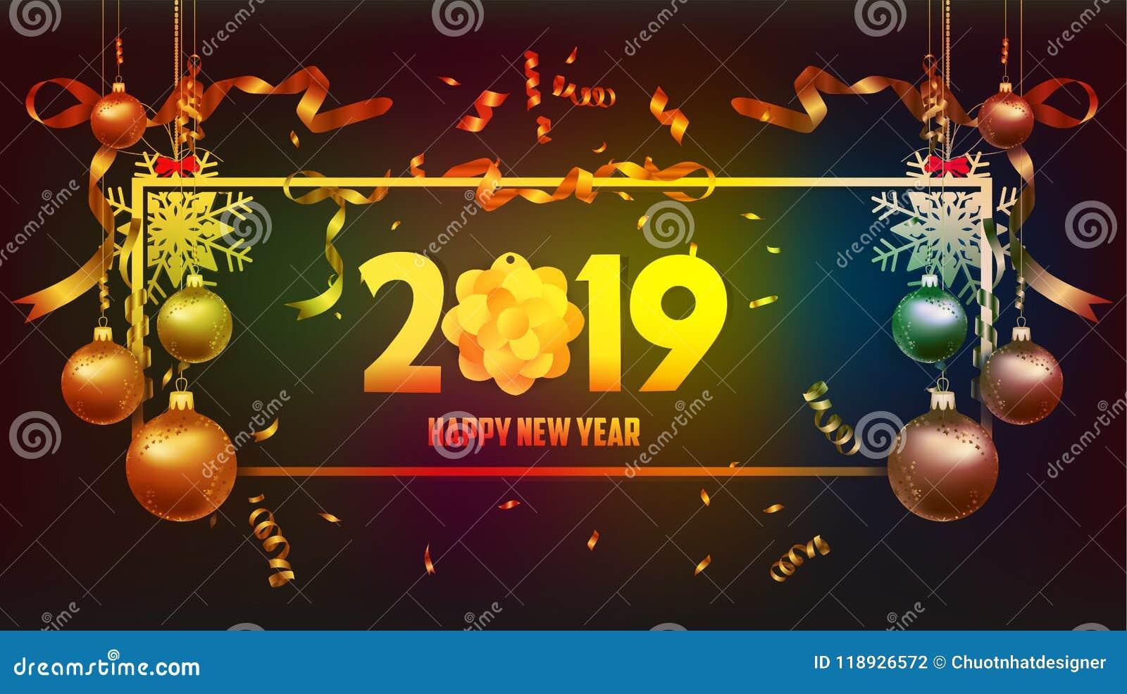 Dirigez l illustration de l or de papier peint de la bonne année 2019 et de l endroit noir de couleurs pour des boules de Noël de