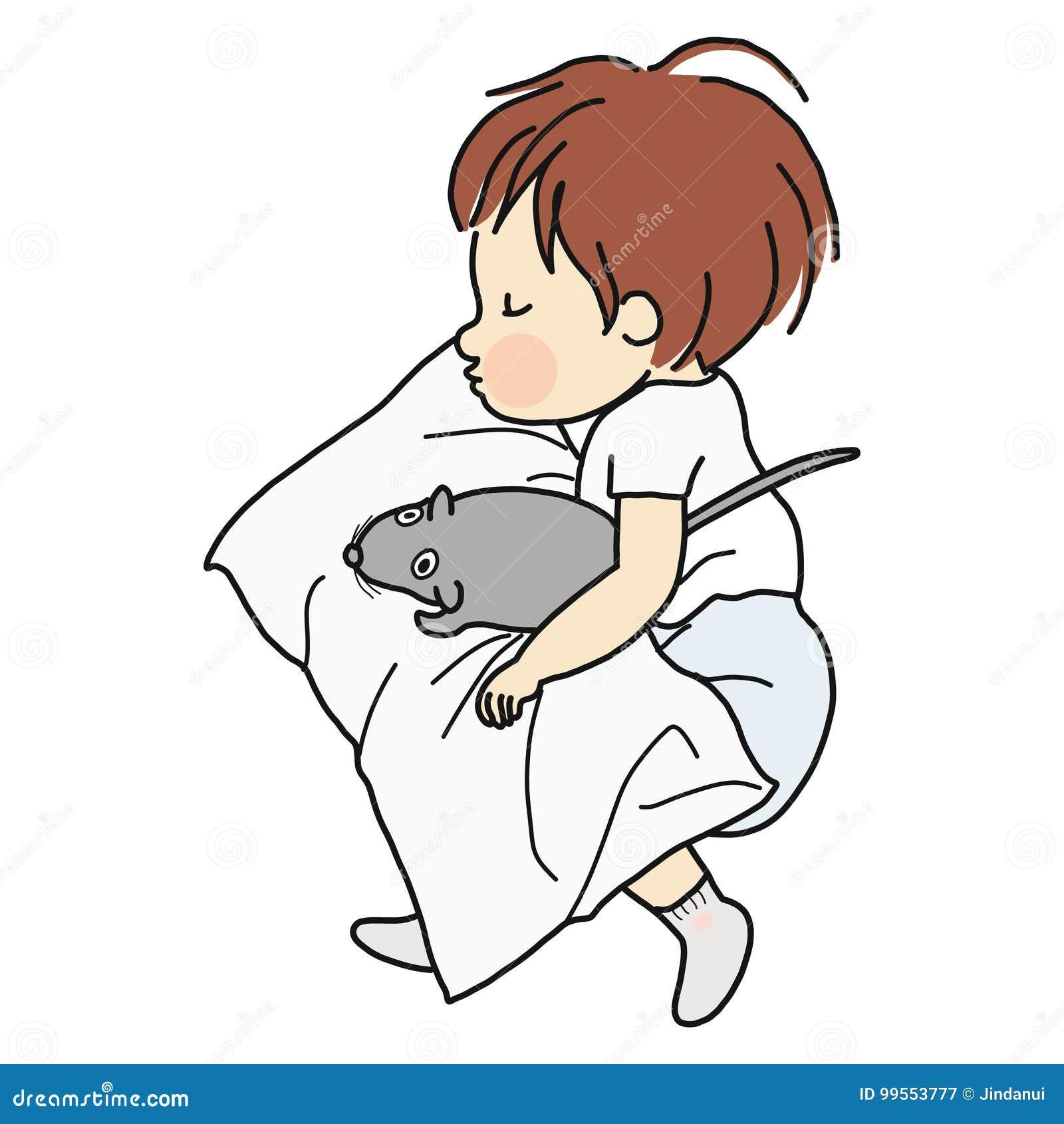 Dirigez l illustration de peu d enfant dormant avec la poupée de rat dans le lit