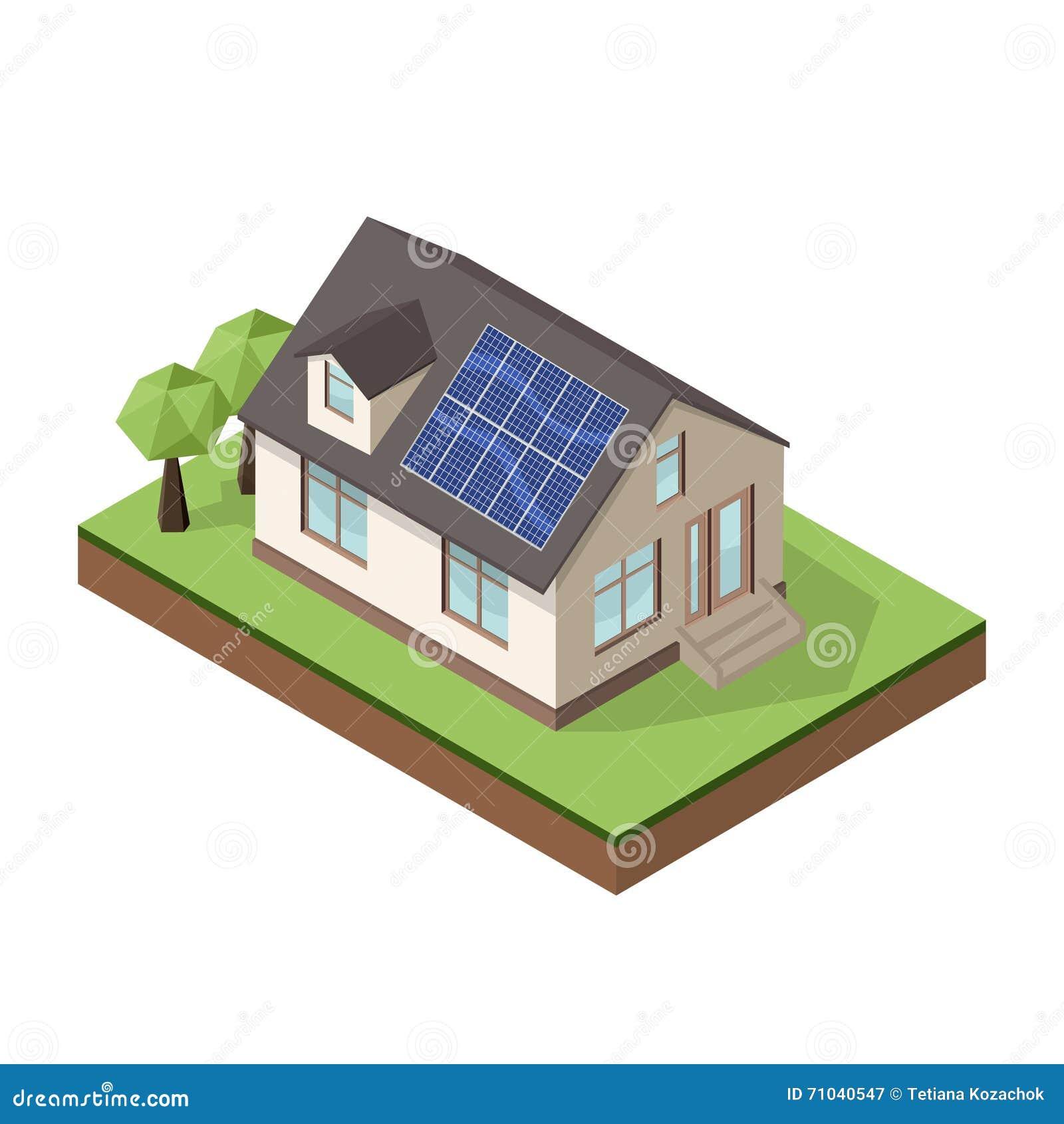 Dirigez l illustration du cottage ou de la maison privé isométrique