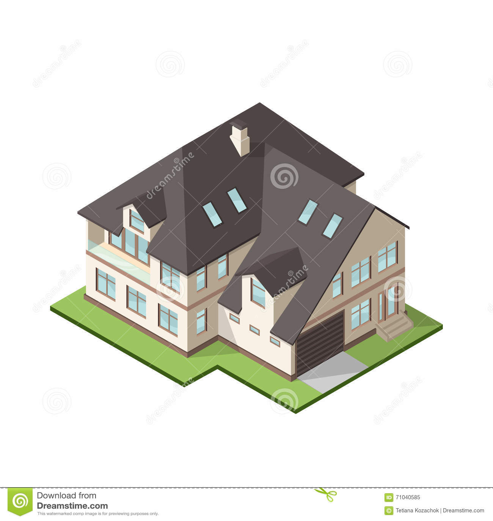 Dirigez l illustration du grand cottage ou maison privé isométrique