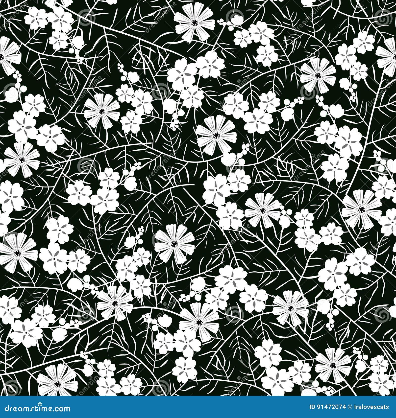 Dirigez L Illustration Du Modele De Fleur Blanc Et Noir Sans Couture