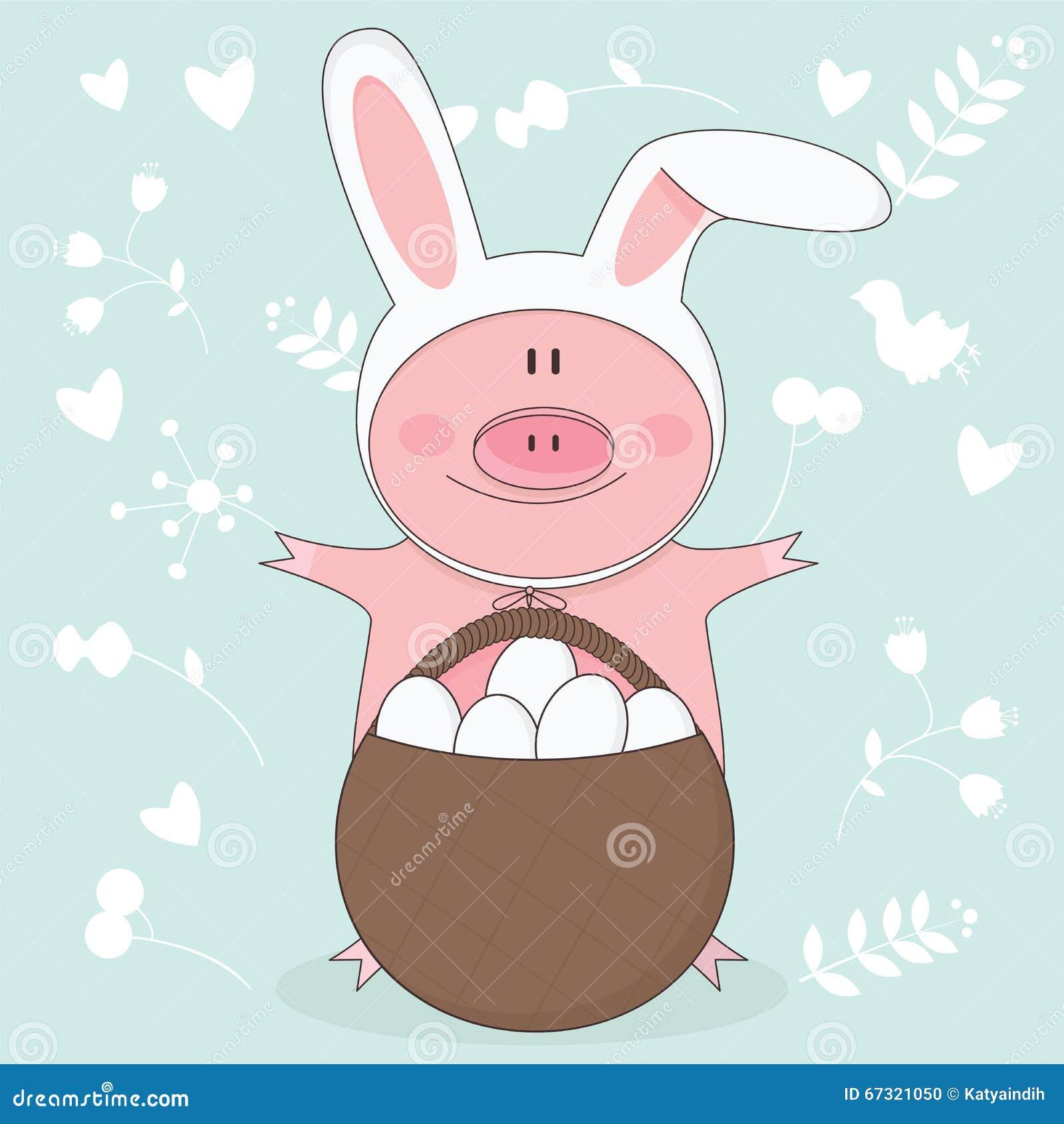 Dirigez l illustration du porc de Pâques avec des oreilles de lapin