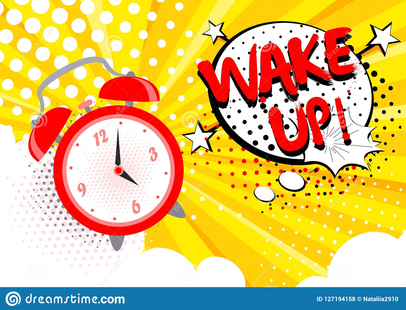 Dirigez l illustration du réveil sonnant, réveillez le texte sur le fond Concept lumineux d art de bruit de bande dessinée dans r