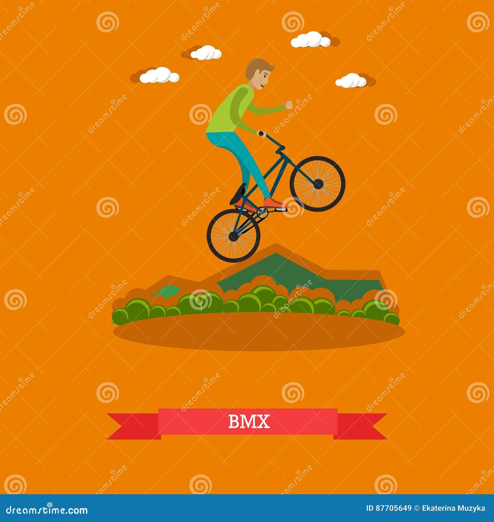 Dirigez l illustration du vélo de bmx d équitation de garçon dans le style plat