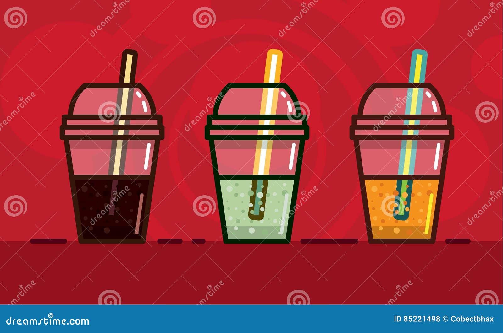 Dirigez l illustration en boissons non alcoolisées carbonatées par style de kawaii un goût et une lumière différents en verres av