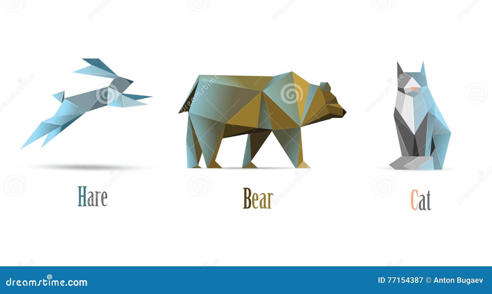 Dirigez l illustration polygonale des animaux chat, ours, lièvre, basses poly icônes modernes, style d origami d isolement