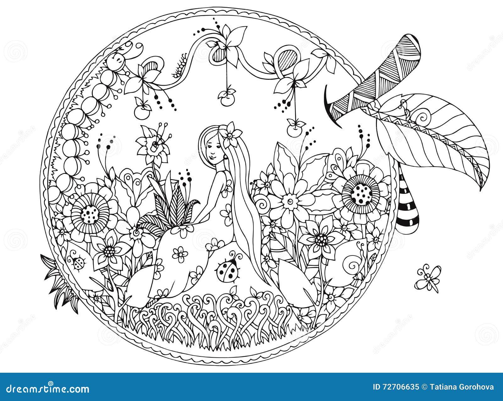 Coloriage Fleur Zen.Dirigez L Illustration Zen Tangle Fille S Asseyant Dans Une Pomme