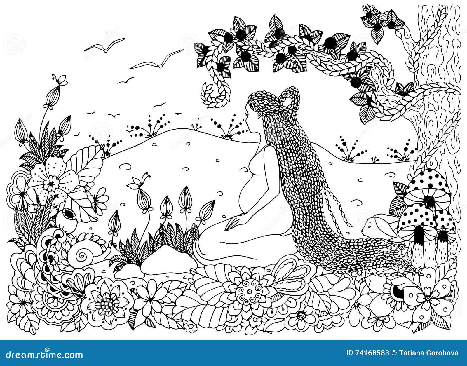 Dirigez L Illustration Zen Tangle Une Femme Enceinte S Asseyant En