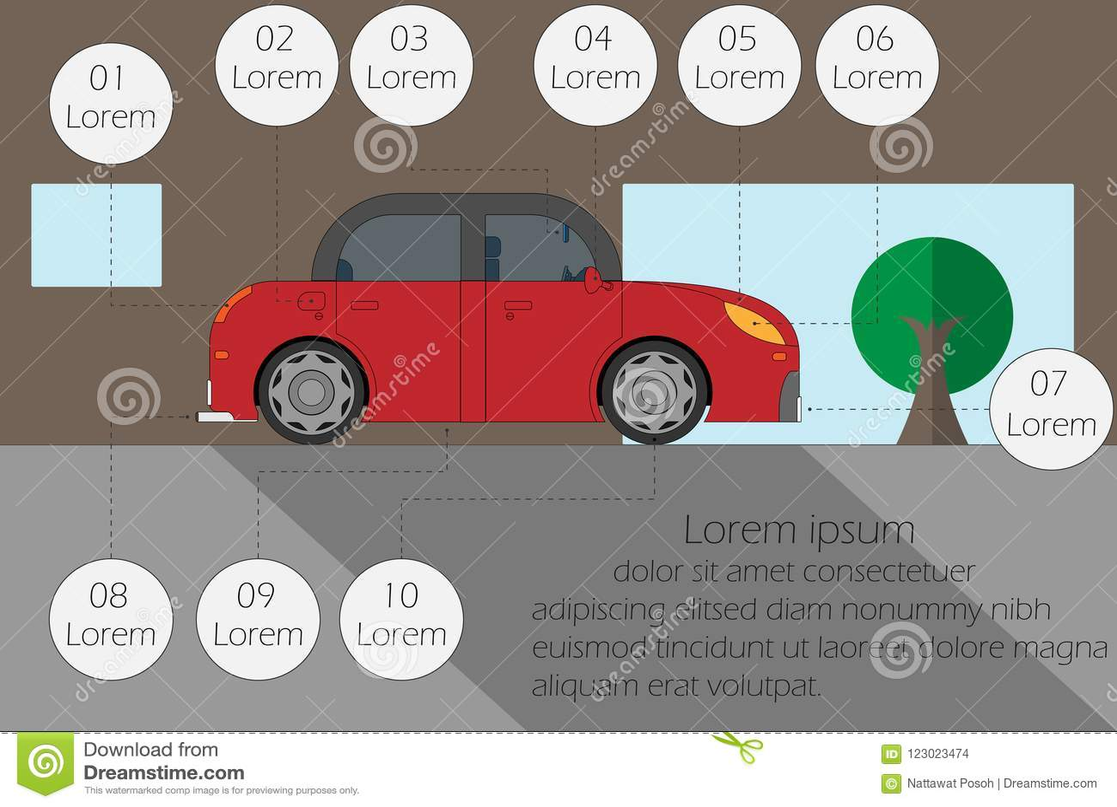 Dirigez l inspection d illustration la voiture avant l entraînement, l espace vide pour le texte