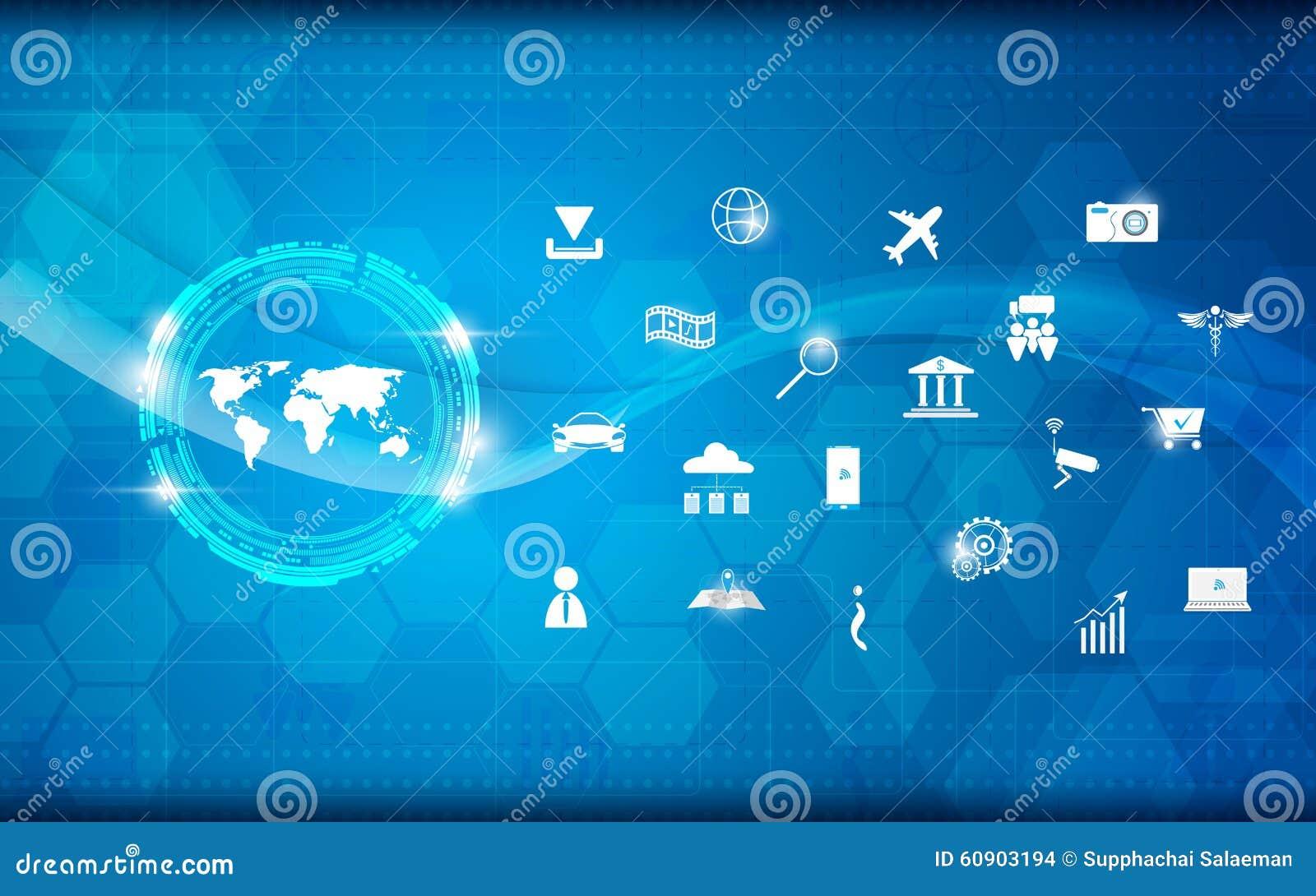 Dirigez l Internet de modèle de la science et technologie d abrégé sur carte du monde du fond de concept de choses