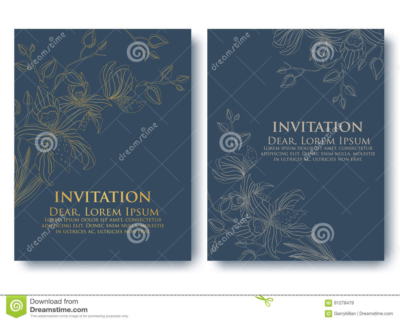 Dirigez L Invitation Ou Le Mariage Cartes Avec Les Elements Floraux Ornements Abstraits Elegants