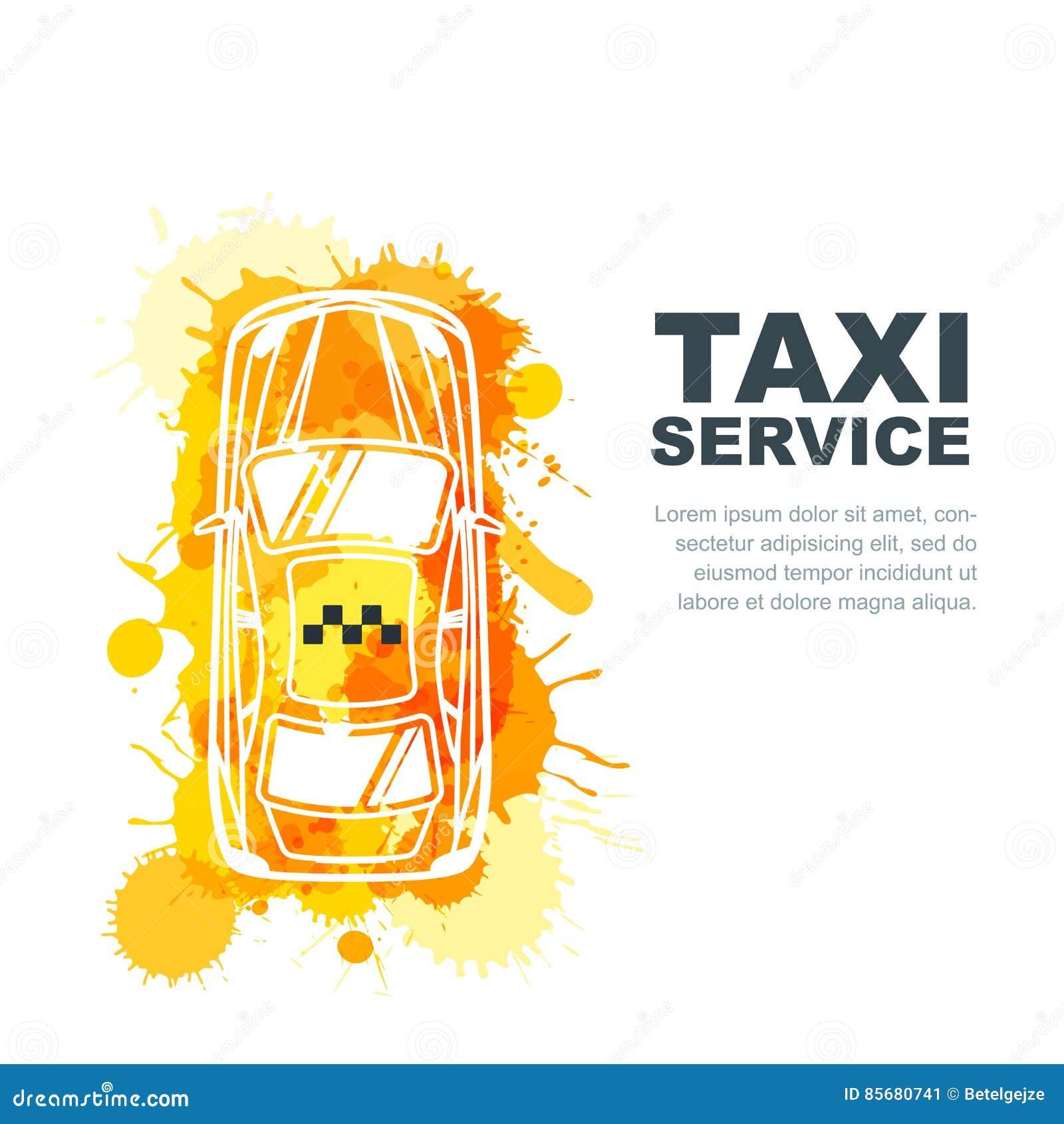 Dirigez la bannière de service de taxi, insecte, calibre de conception d affiche Concept de taxi d appel Cabine peinte par aquare