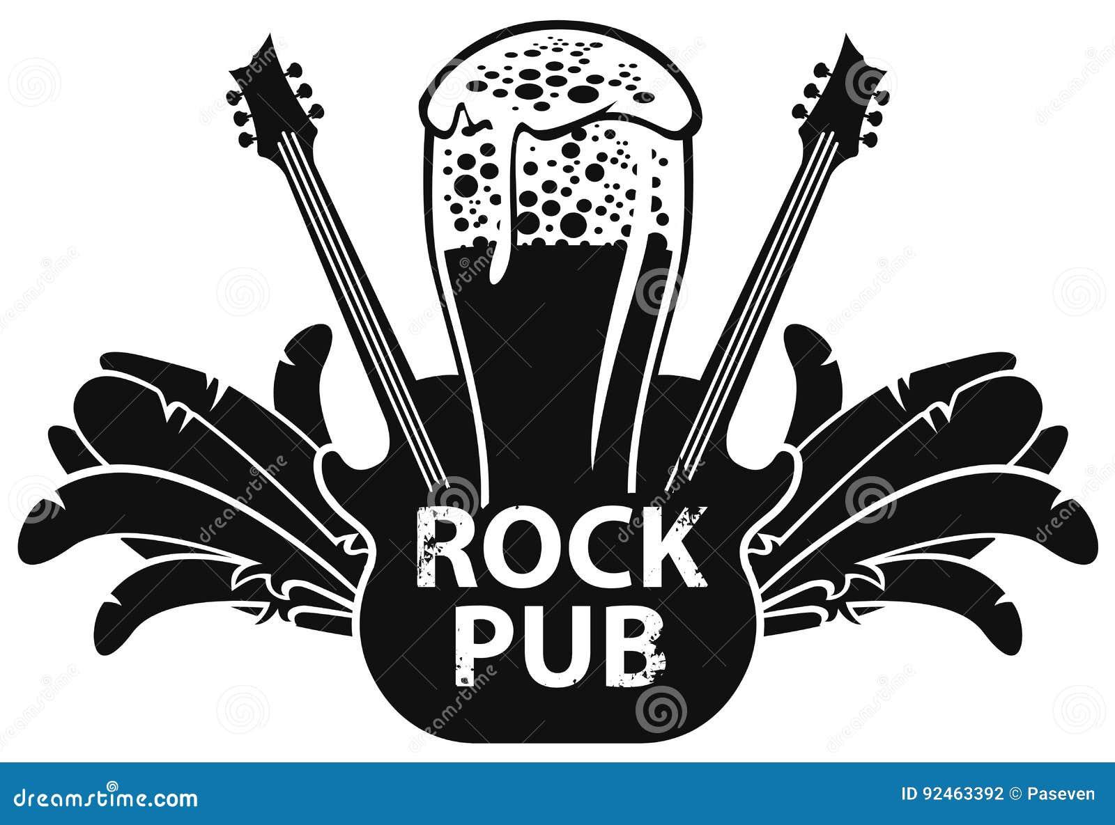 Dirigez la bannière pour le bar de roche avec la guitare et la bière