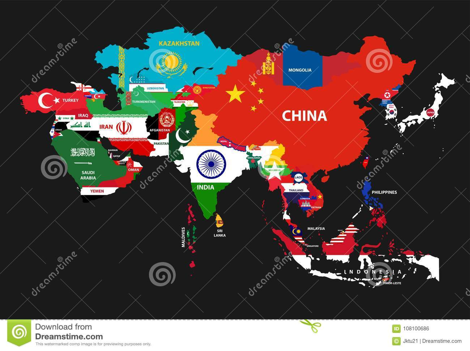 Dirigez la carte continente de l Asie avec des pays mélangés à leurs drapeaux nationaux