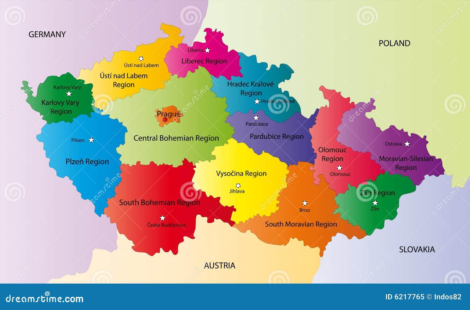 Republique Tcheque Carte Europe.Dirigez La Carte De La Republique Tcheque Illustration De