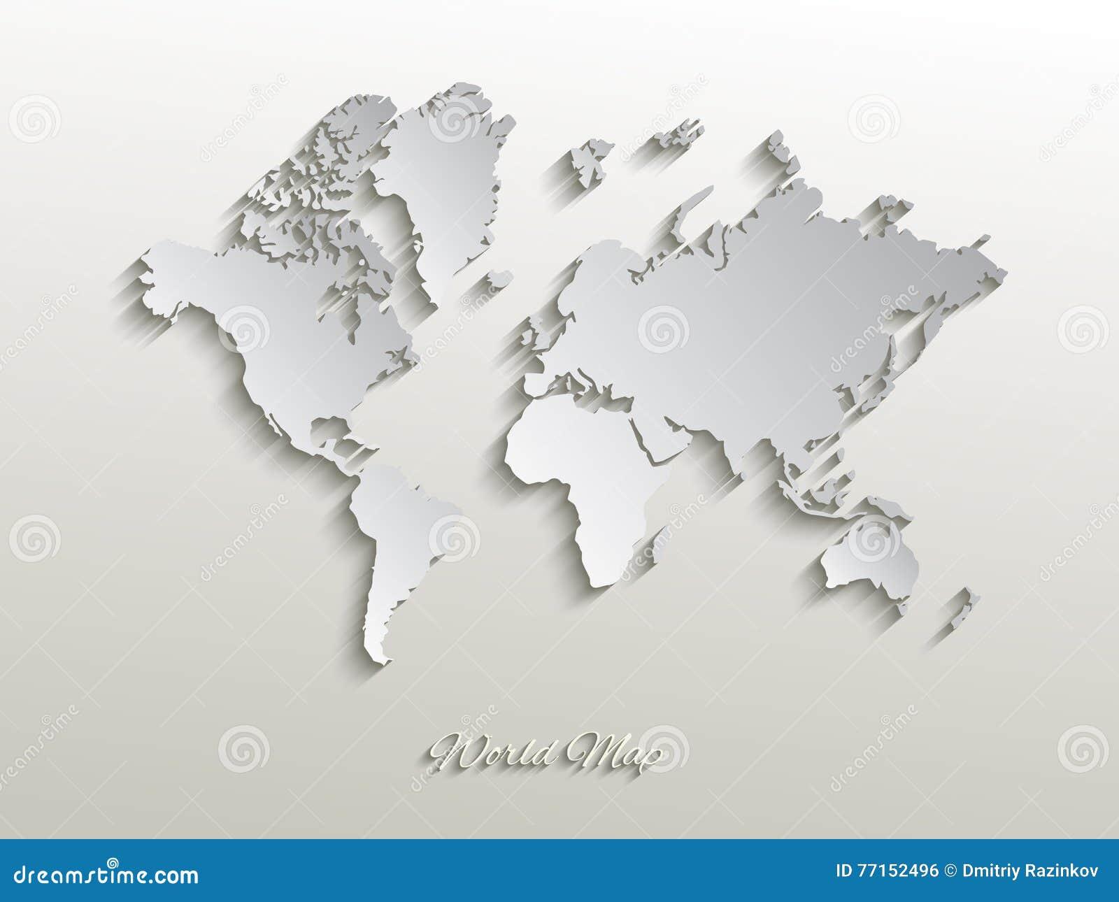 Dirigez la carte de papier du monde sur un fond blanc