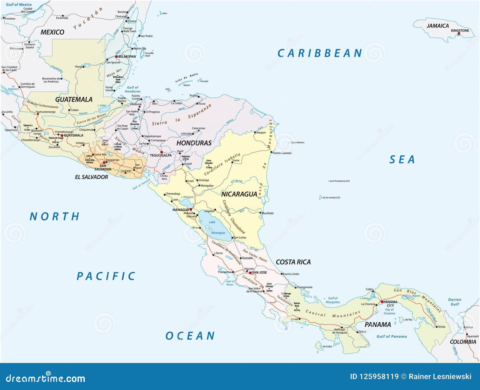 Carte Route Amerique.Dirigez La Carte De Route Des Etats De L Amerique Centrale
