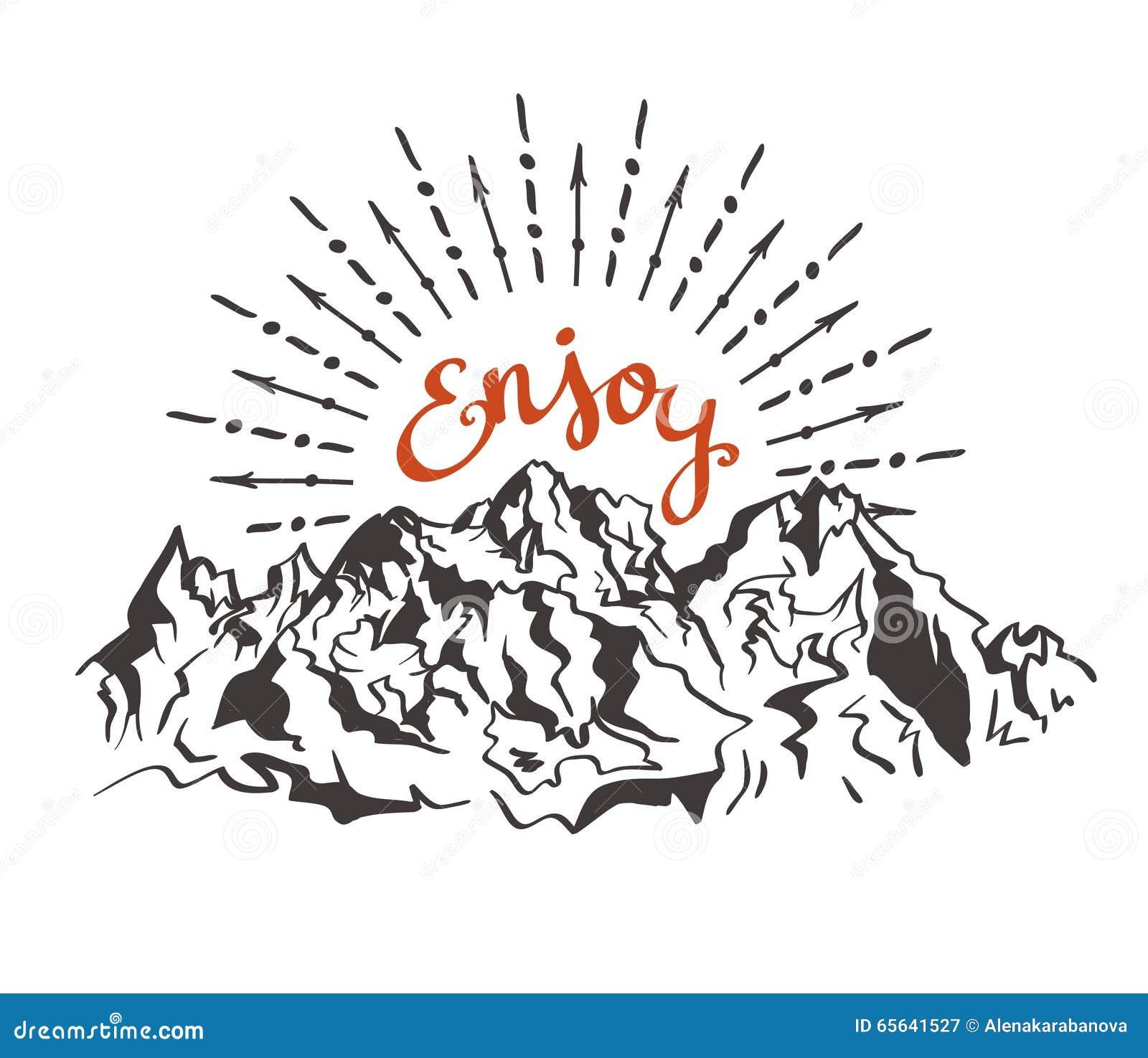 Dirigez la carte de vintage avec des montagnes, rayon de soleil et l expression inspirée apprécient