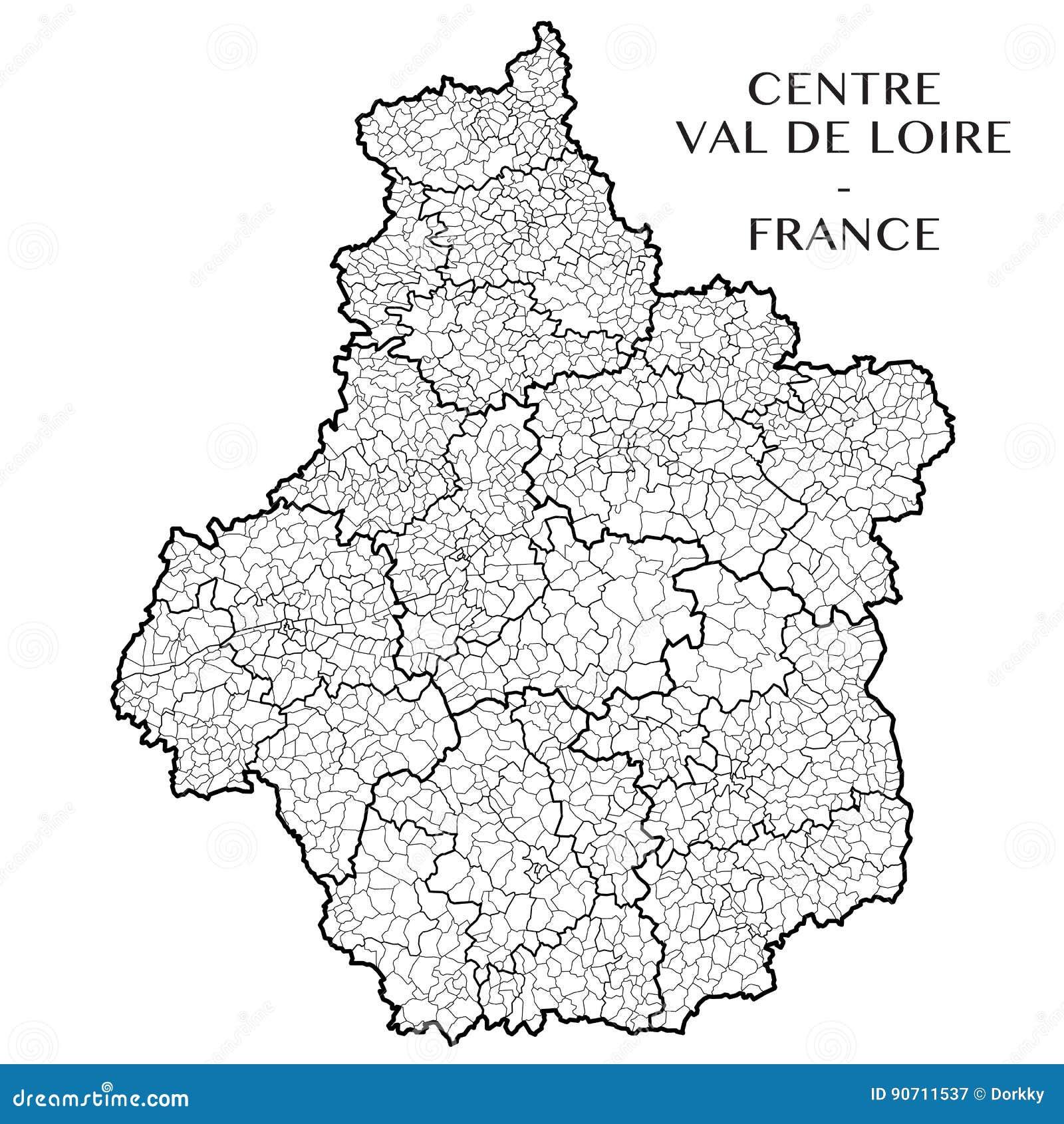 Dirigez La Carte Du Centre Val De Loire, France De Région Illustration de Vecteur - Illustration ...