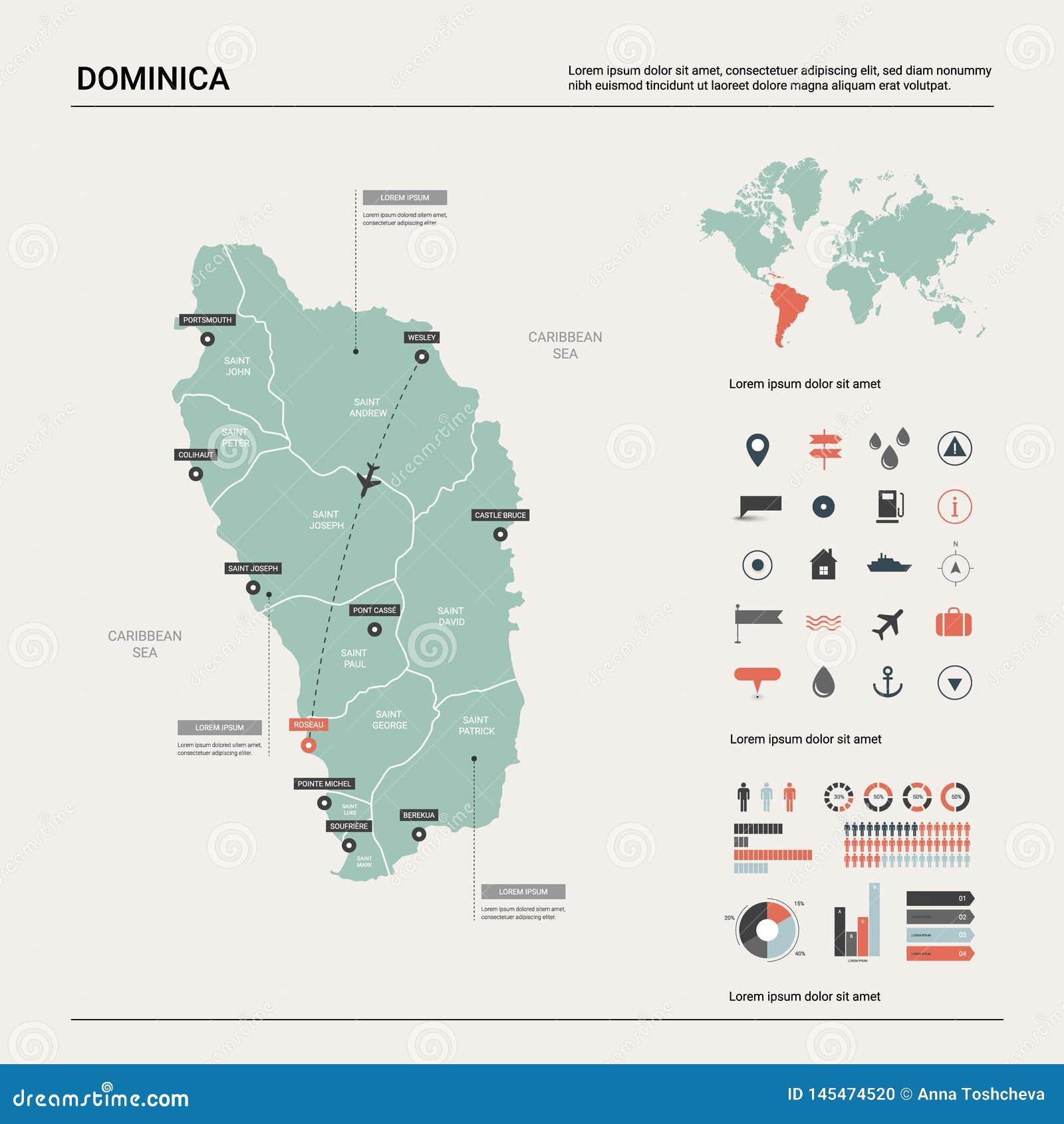 Dirigez la carte du dominica Haute carte détaillée de pays avec la division, les villes et la capitale Roseau Carte politique, ca
