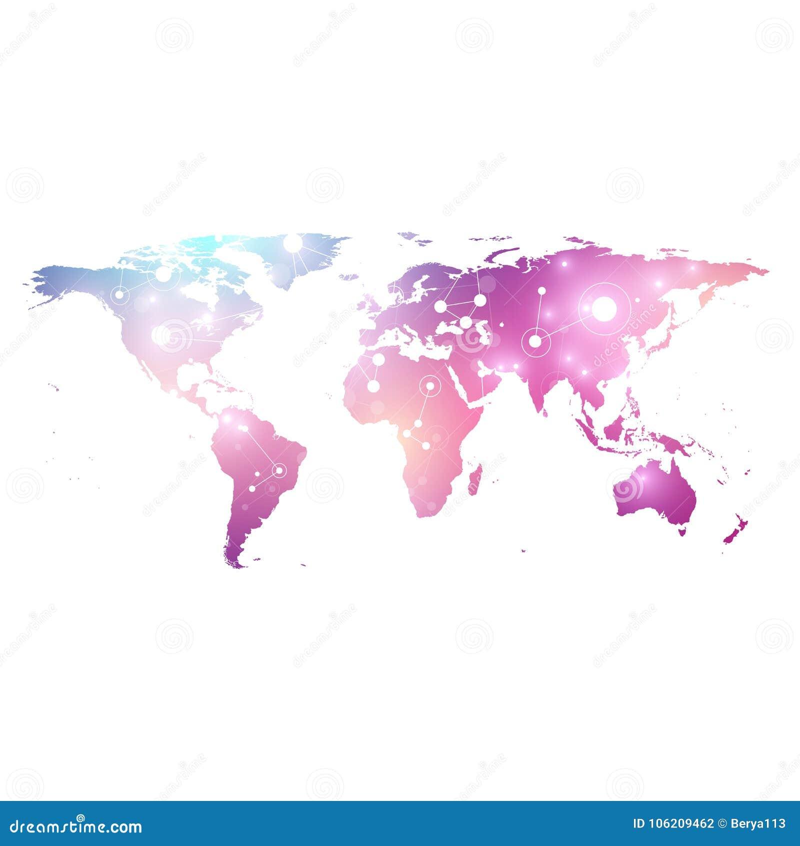 Dirigez la carte du monde de calibre avec le concept global de mise en réseau de technologie Connexions réseau globales Données n