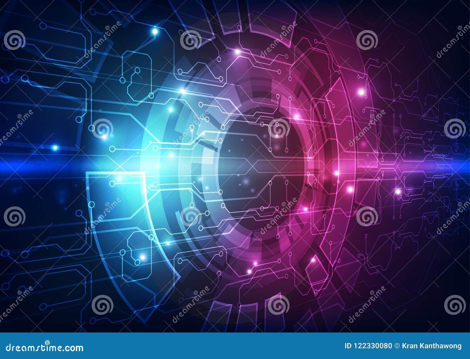 Dirigez la carte futuriste abstraite, couleur élevée de bleu de technologie numérique d illustration