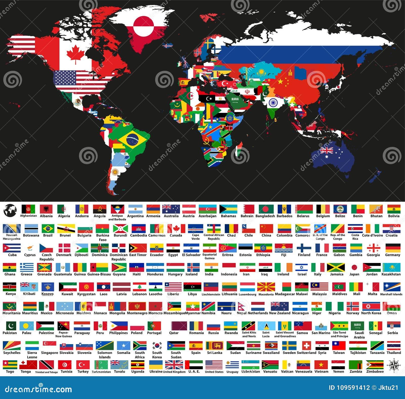 Dirigez la carte politique du monde abstrait mélangée aux drapeaux nationaux sur le fond noir Collection de tous les drapeaux du