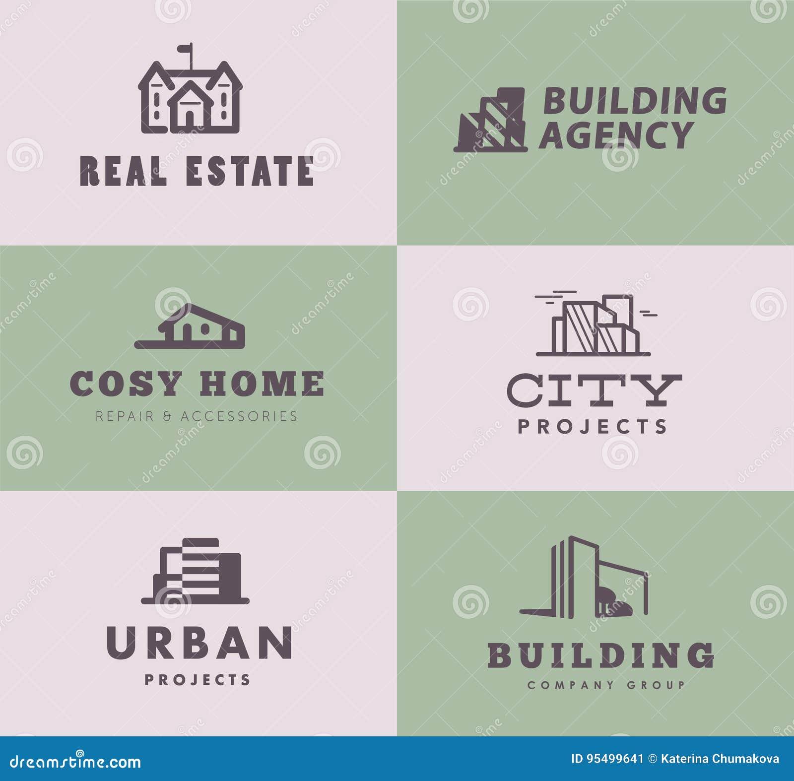 Dirigez la collection de conceptions élégantes simples de logo d agence d entreprise de construction et d architecte d ensemble d