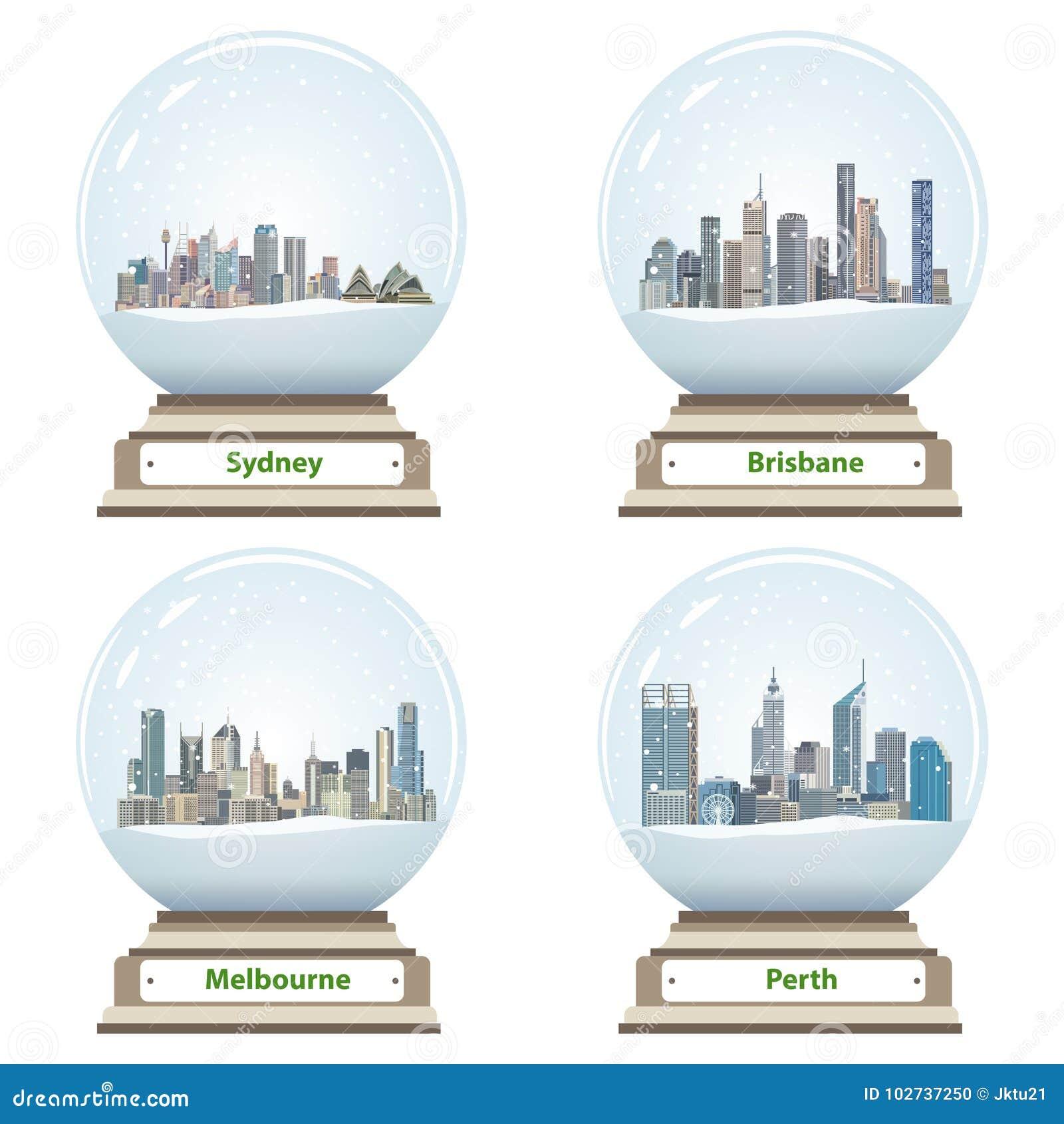 Dirigez la collection de globes de neige avec des horizons australiens de ville