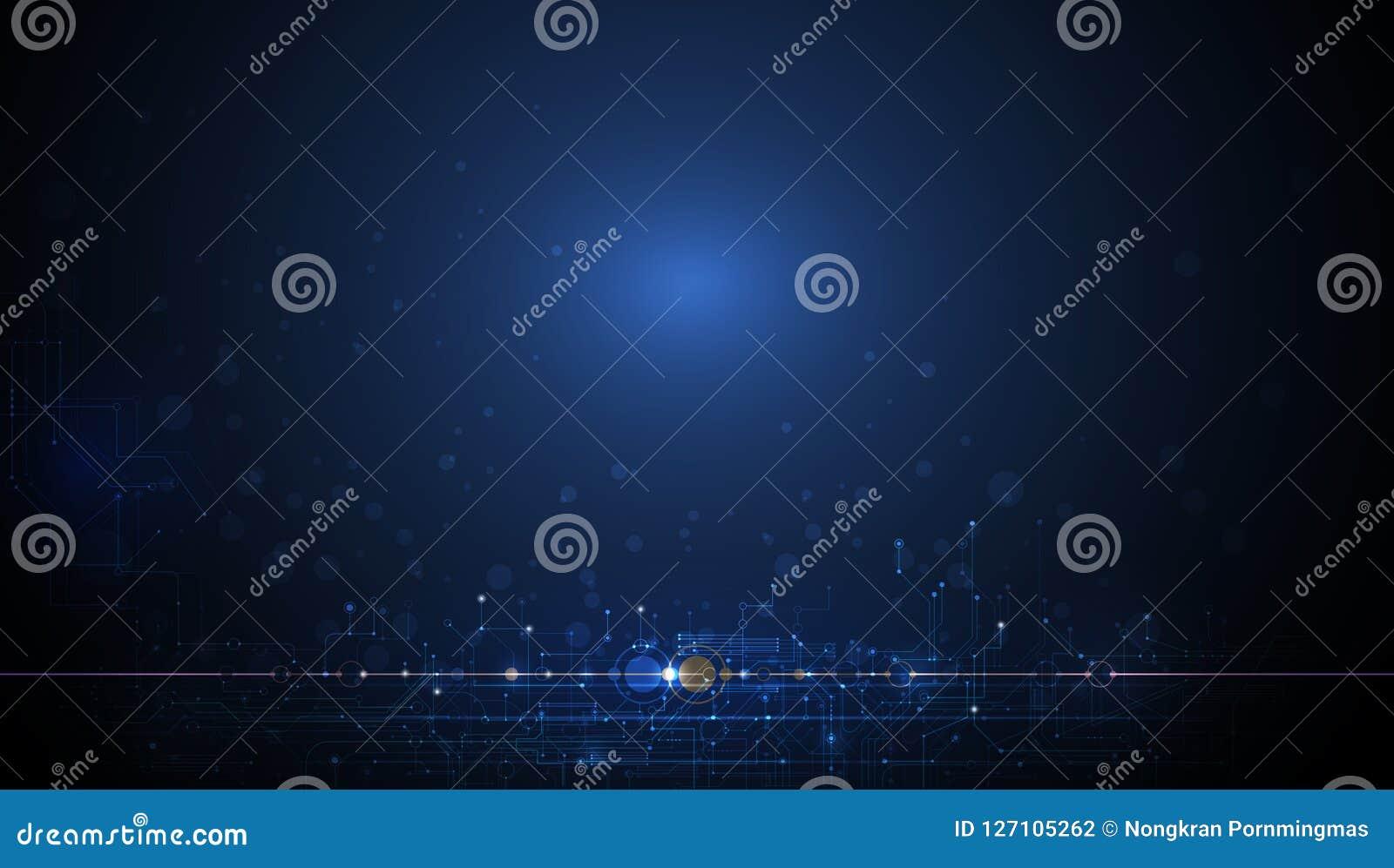 Dirigez la conception pour la technologie abstraite, communication, futuriste Concept numérique de pointe sur le fond bleu-foncé