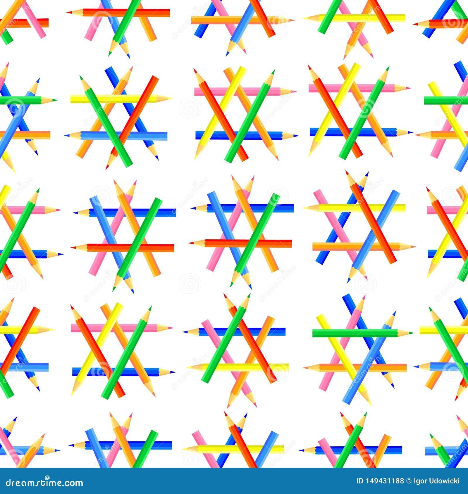 Dirigez la configuration sans joint Formes hexagonales créées des crayons colorés affilés