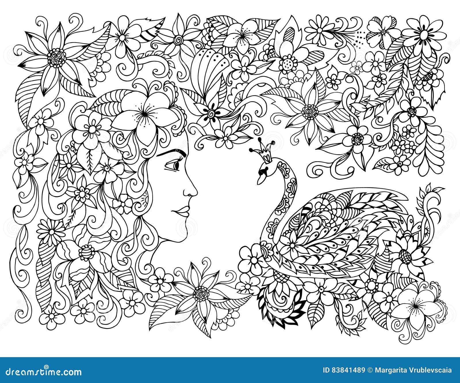 Coloriage Fleur Zen.Dirigez La Fille De Zen Tangle D Illustration Et La Princesse De