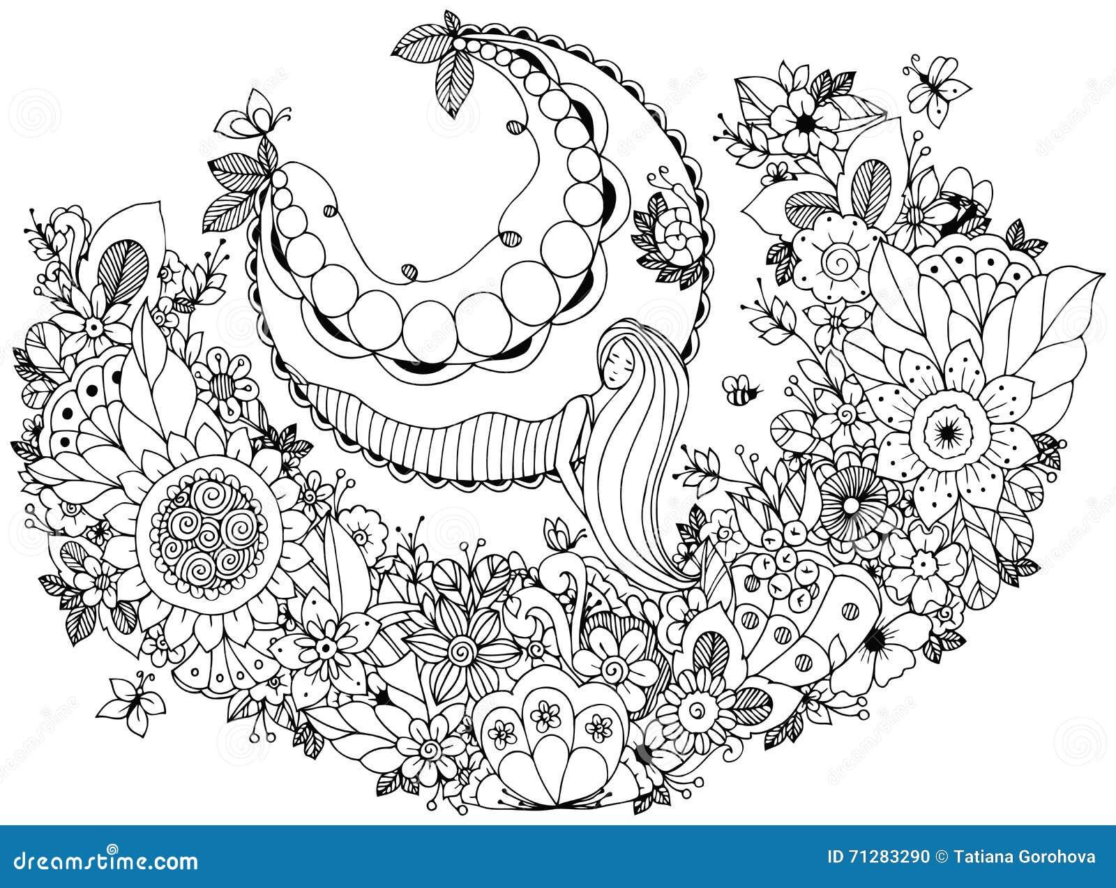 Coloriage Fleur Zen.Dirigez La Fille De Zen Tangle D Illustration Sur Une Oscillation En