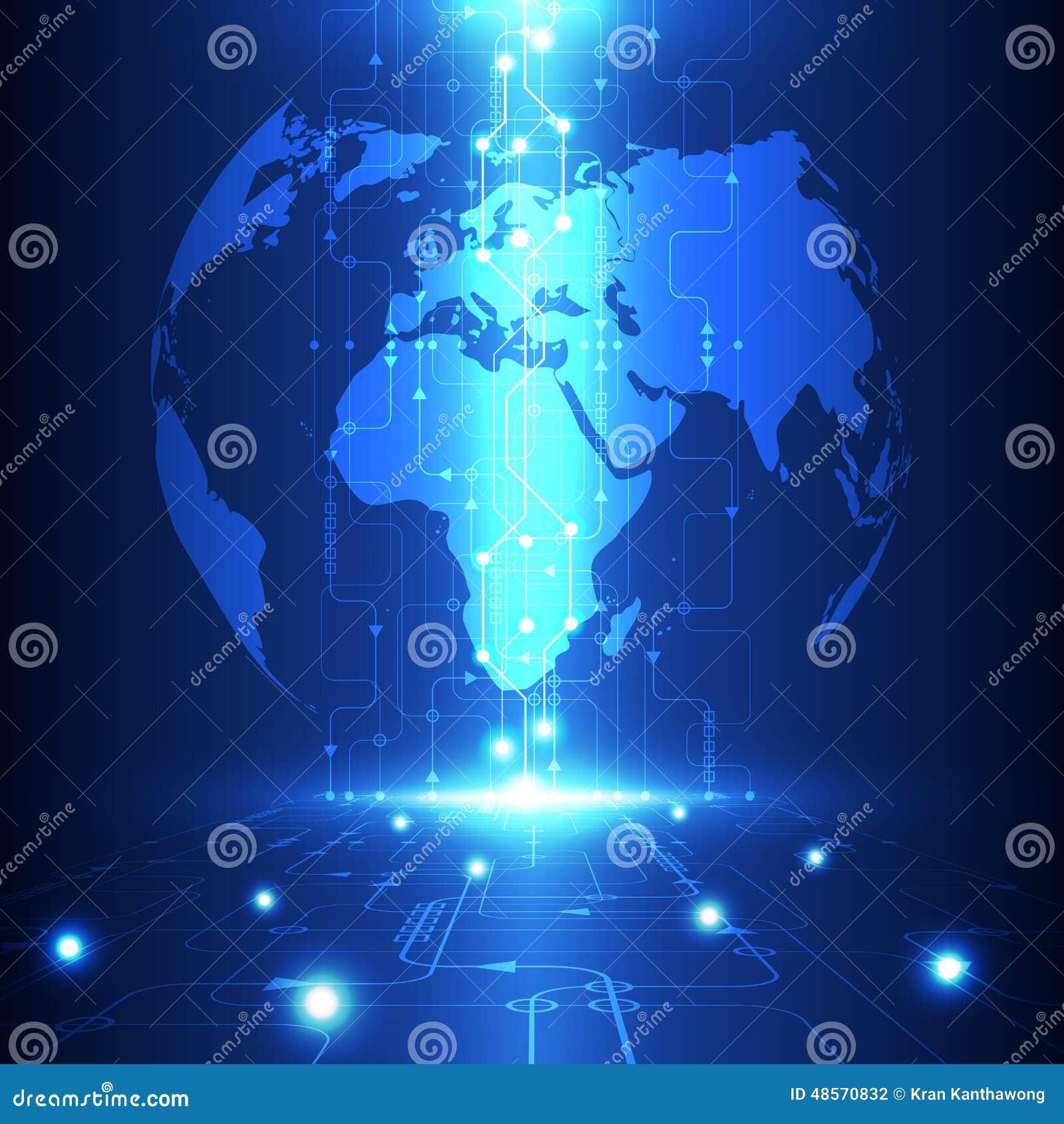 Dirigez la future technologie globale abstraite, fond électrique de télécom
