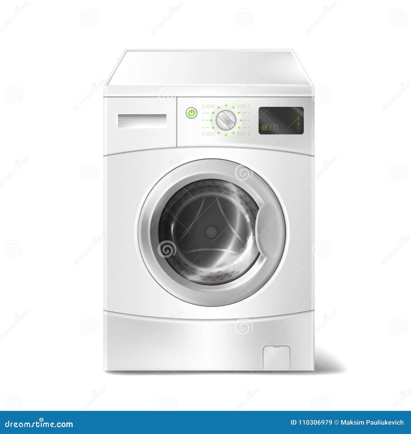 Dirigez la machine à laver réaliste avec l affichage futé sur le fond blanc Appareil électrique pour les travaux domestiques, bla