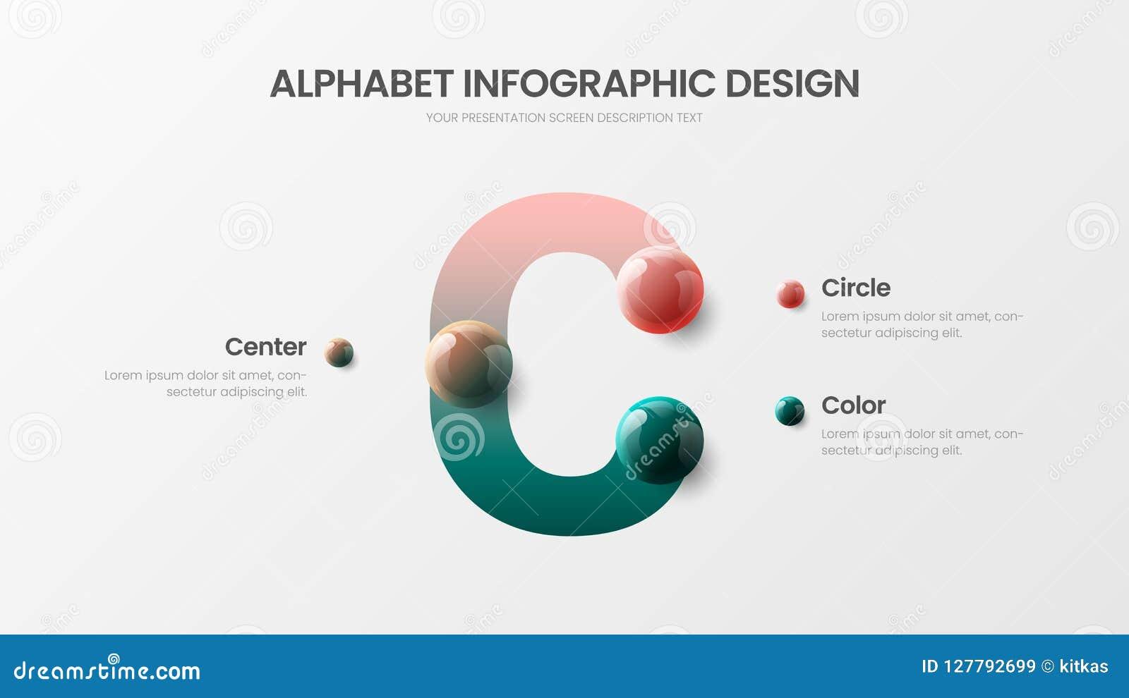 Dirigez la présentation colorée réaliste infographic des boules 3D d alphabet Calibre de visualisation de graphiques de symbole d