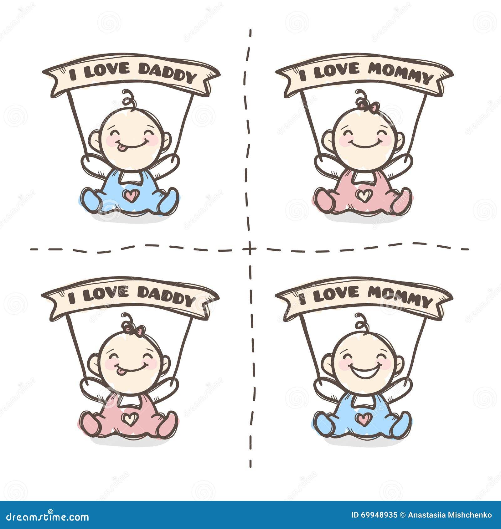 Dirigez Le Bébé Mignon Avec Des Rubans De Maman Et De Papa D Amour D