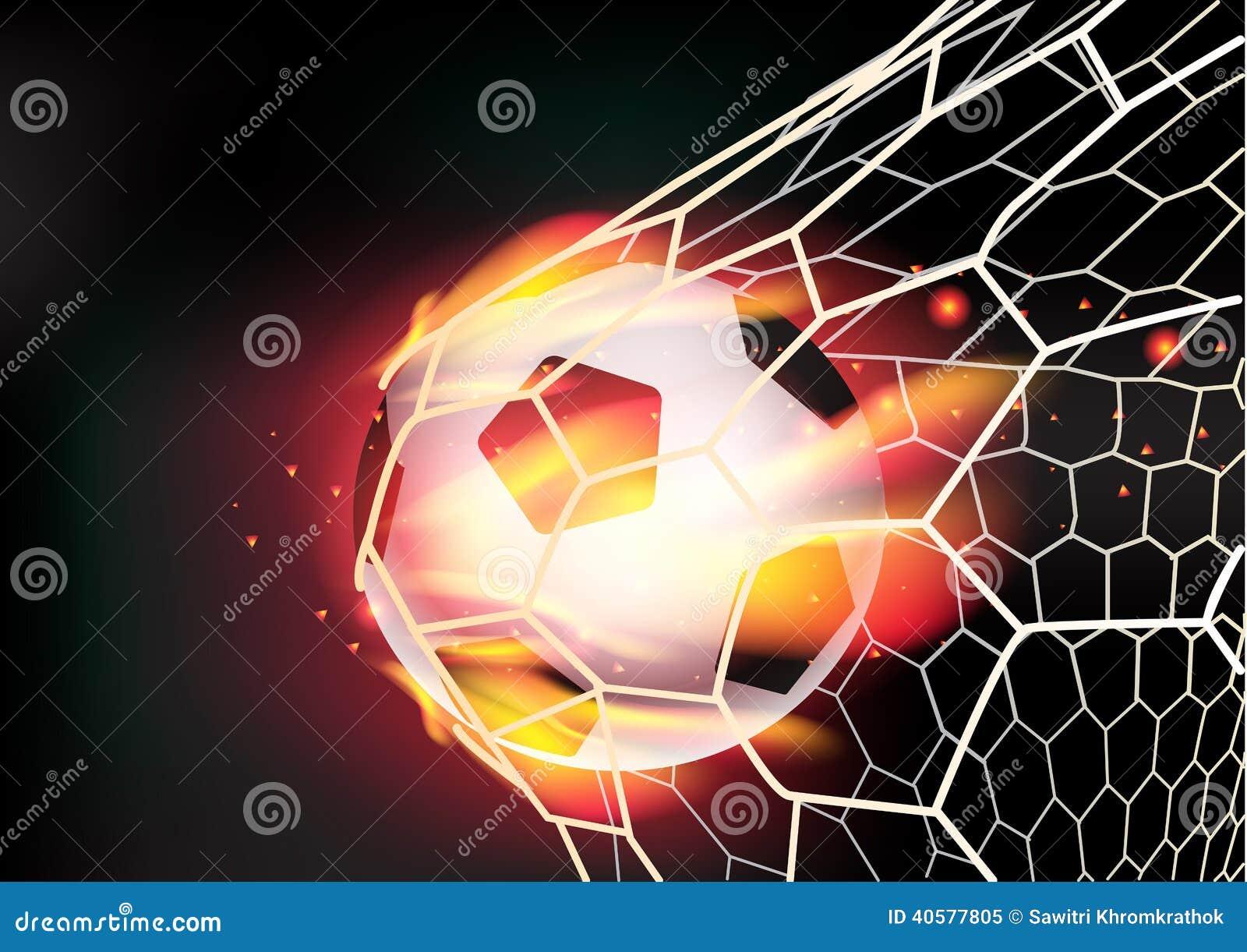 dirigez le ballon de football dans le filet de but sur des