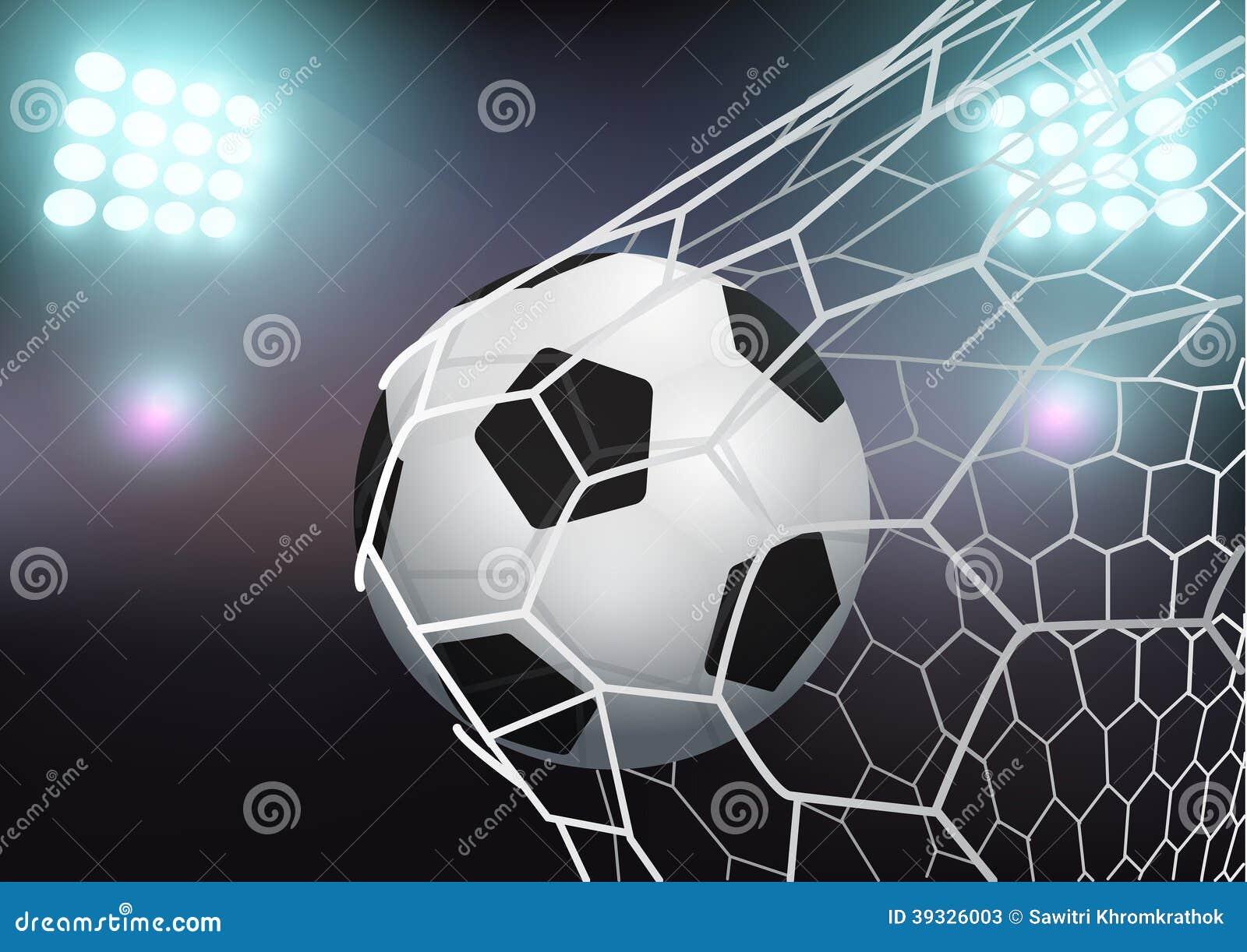dirigez le ballon de football dans le filet de but sur le stade illustration de vecteur image. Black Bedroom Furniture Sets. Home Design Ideas