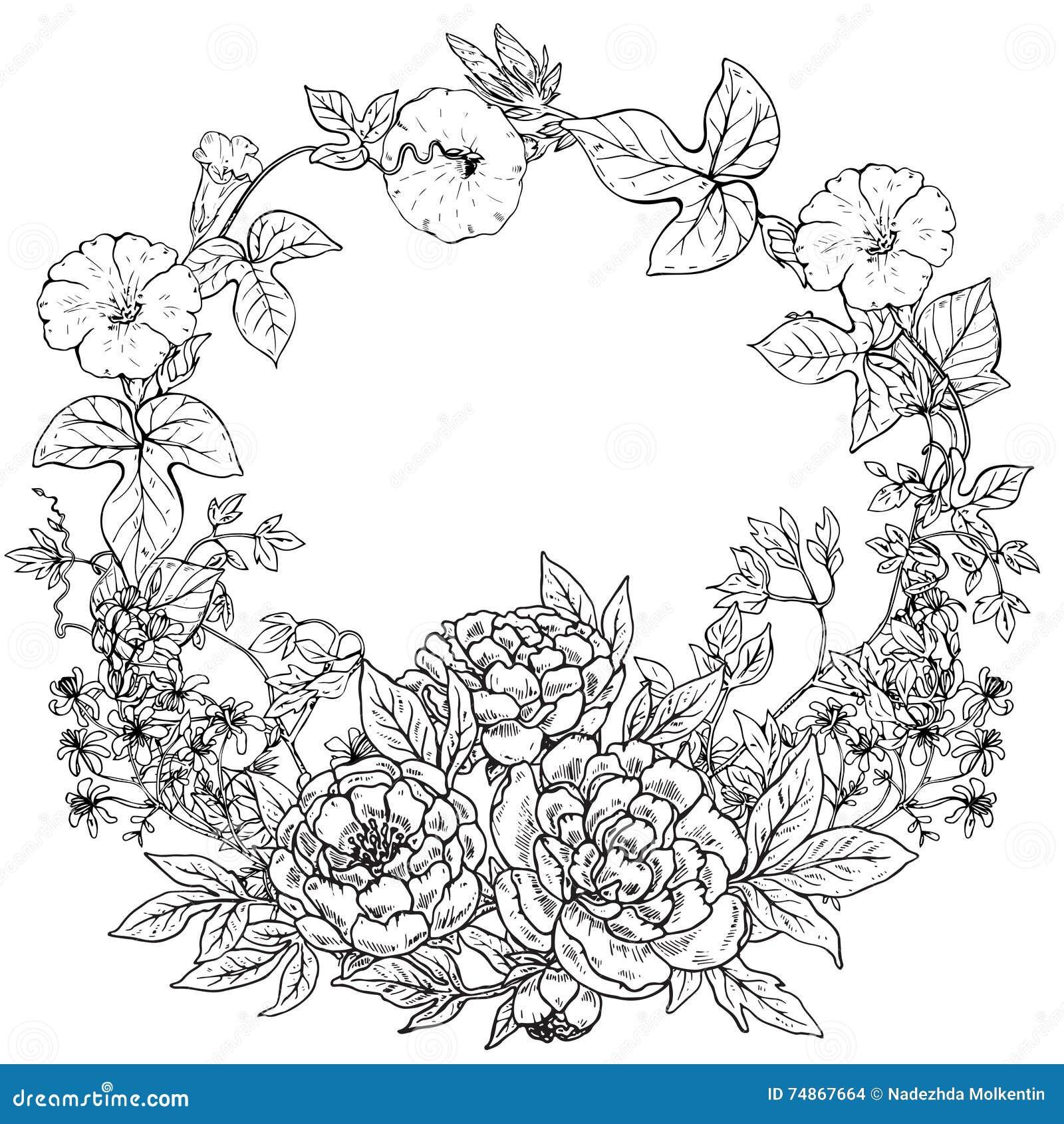 Coloriage Guirlande Fleurs.Dirigez Le Cadre Avec La Guirlande Tiree Par La Main Des
