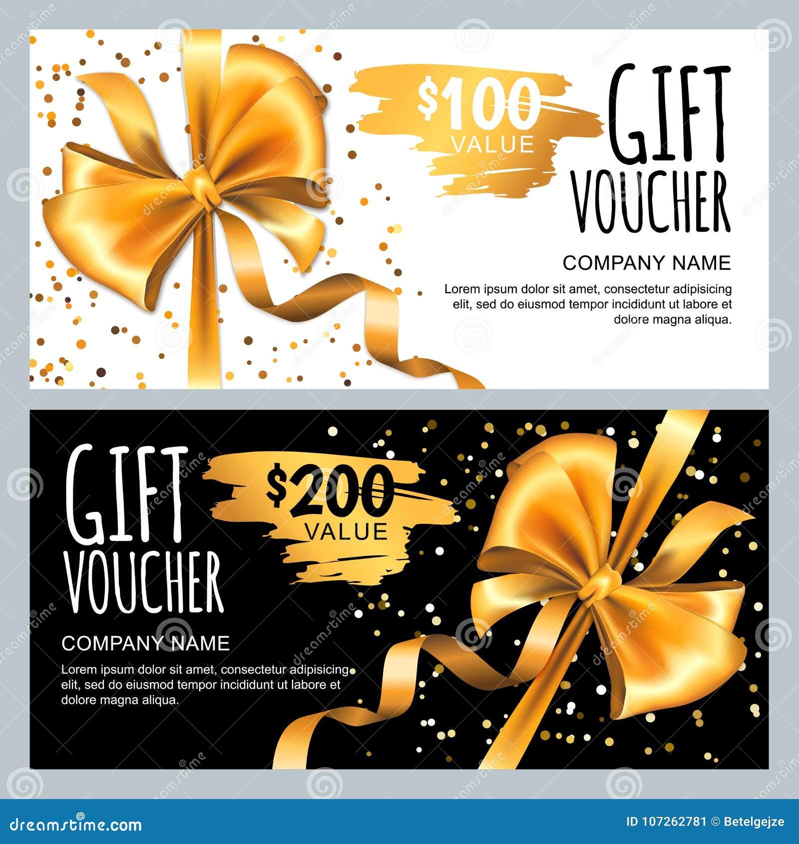 Dirigez le calibre de carte cadeaux ou de bon avec le ruban d arc d or Conception de luxe pour le bon de cadeau de VIP, certifica