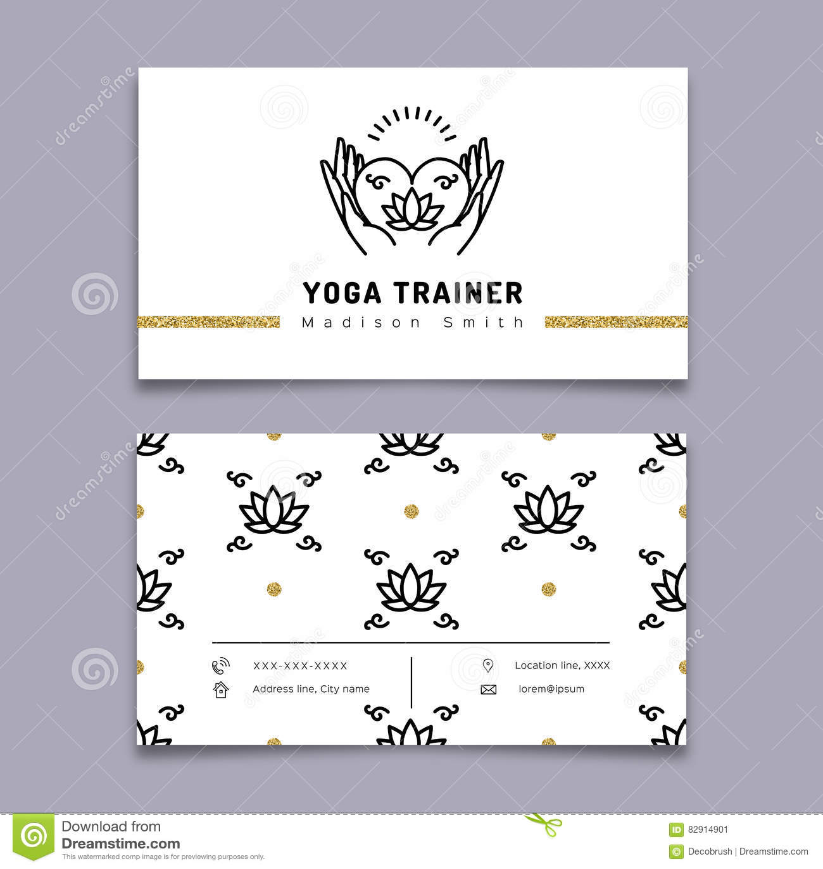 Calibre De Carte Visite Professionnelle Dentraineur Yoga Vecteur Icone Et Mince Pictogramme Schema Meditation