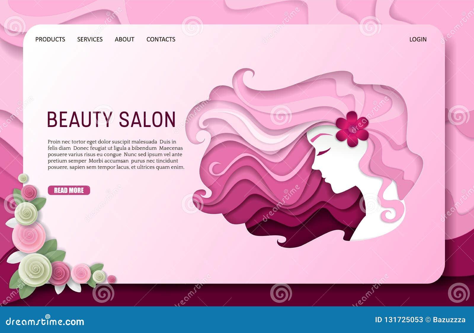 Dirigez le calibre de site Web de page d atterrissage de salon de beauté de coupe de papier