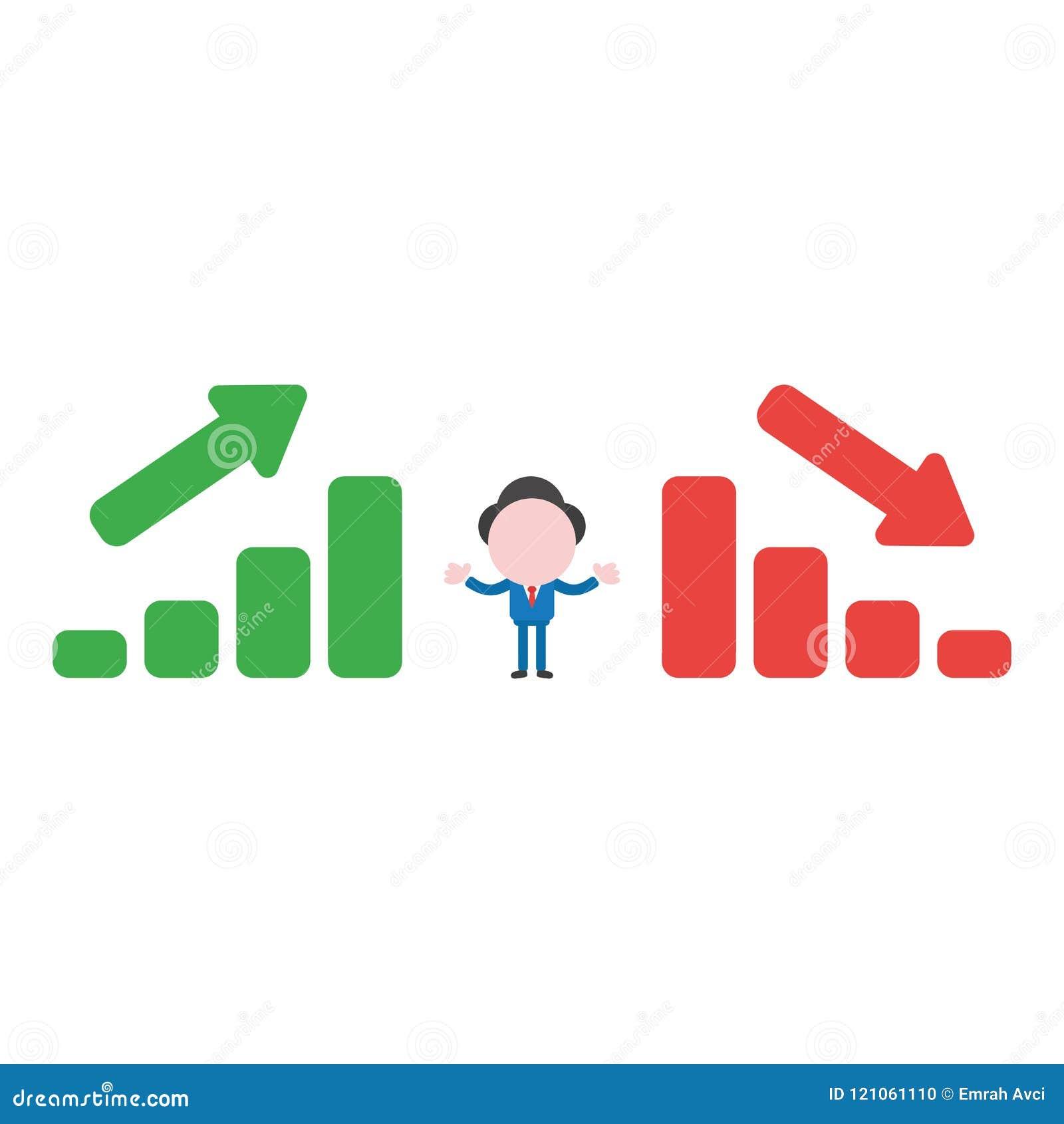 Dirigez le caractère d homme d affaires entre les histogrammes de ventes se relevant