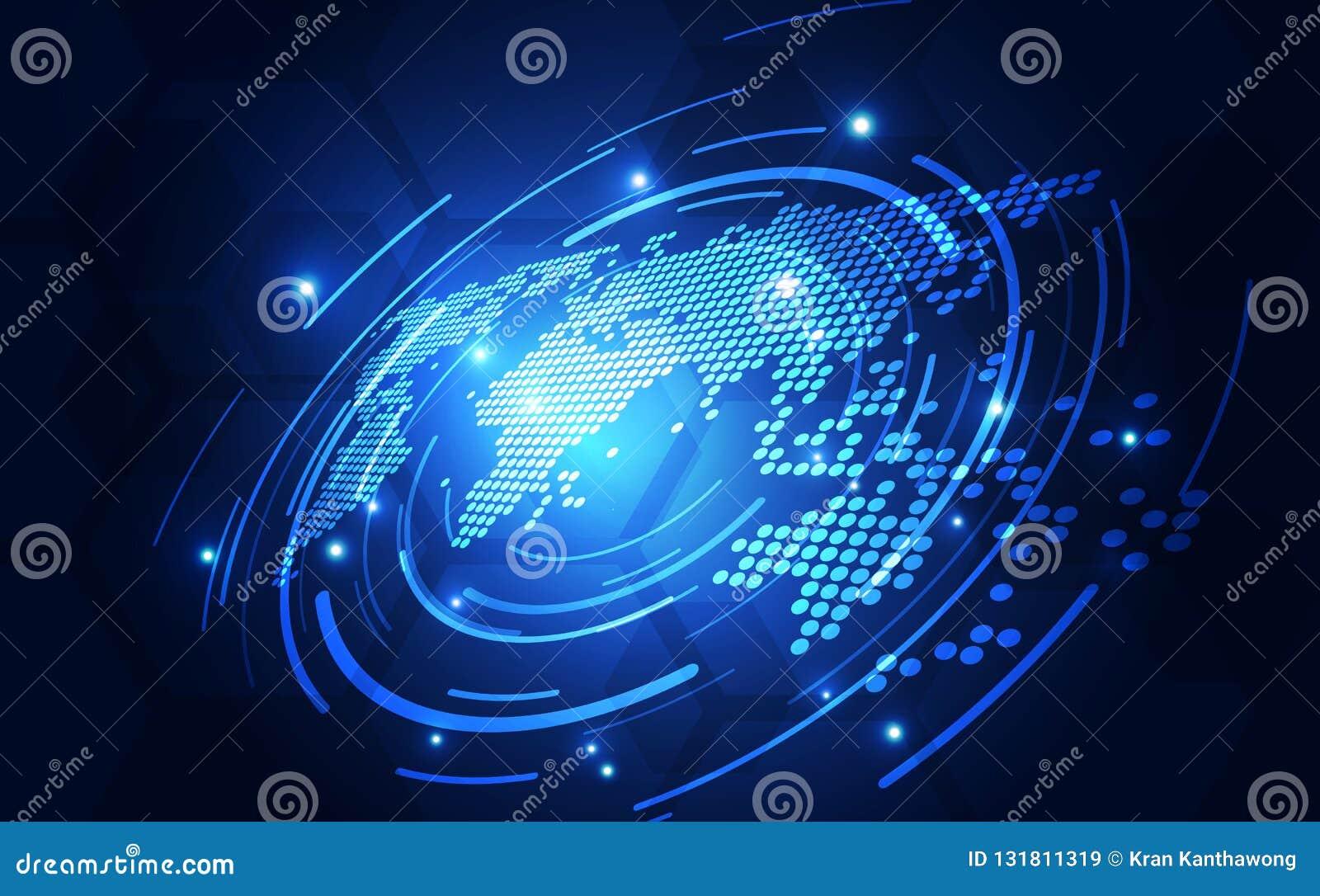 Dirigez le concept global numérique de technologie, illustration abstraite de fond