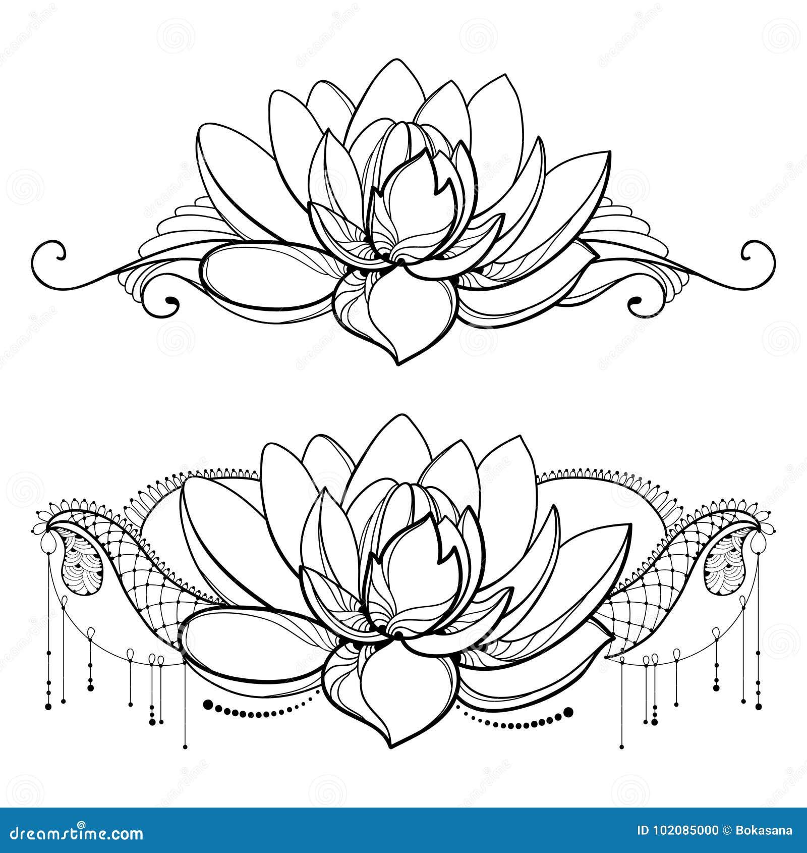 dirigez le dessin avec la fleur de lotus d 39 ensemble la dentelle d corative et les remous dans. Black Bedroom Furniture Sets. Home Design Ideas